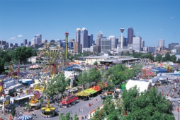 Calgary Stampede Exhibition Grounds, Skyline Background - Photo Credit: Travel Alberta